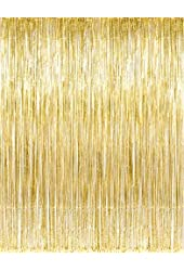 Metallic Gold Foil Fringe Curtains (1 PC) by Kangaroo