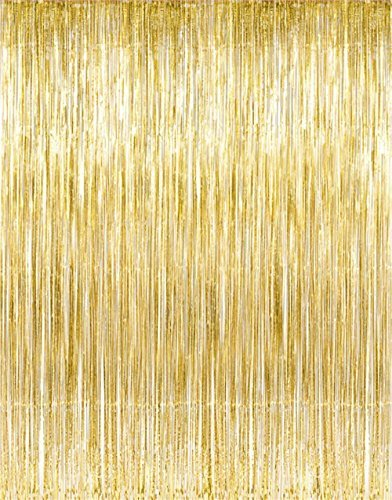 Metallic Gold Foil Fringe Curtains (1 PC) by Kangaroo; Party Supplies (Gold Streamer Backdrop compare prices)