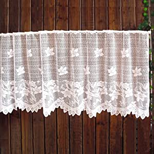 New White Flower Lily Ruffle Curtain French
