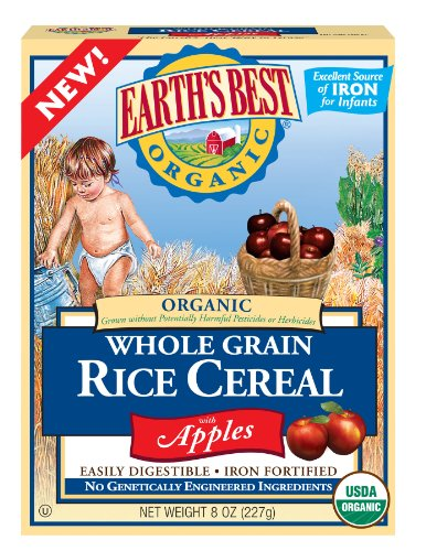 Earth's Best Organic Whole Grain Rice Cereal with Apples, 8-Ounce Boxes (Pack of 6)