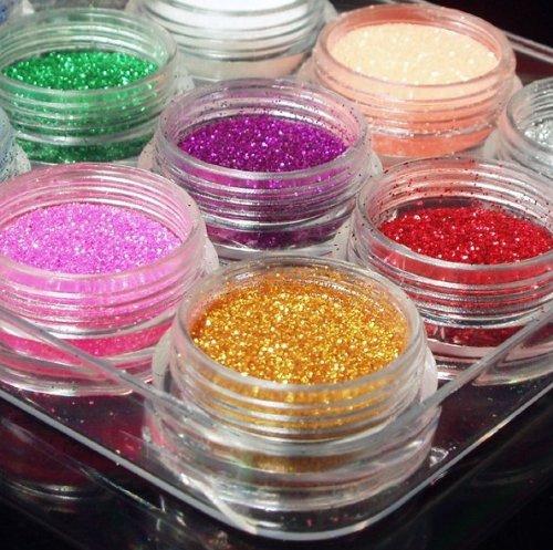nail art powder 12color dust glitter sparkle nail tip decoration