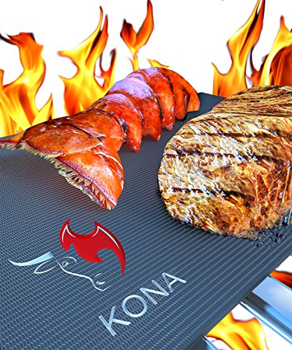 Kona® BEST BBQ GRILL MAT – Set of 2 Mats – Up to 400% Thicker Than Miracle, Yoshi, Others Plus 2,000 Uses – Free 7YR Replacement – For Grilling Meat, Veggies, Seafood, PIZZA – No Fall Through, No Flame Ups, Non-Stick – Dishwasher Safe 100% Guaranteed