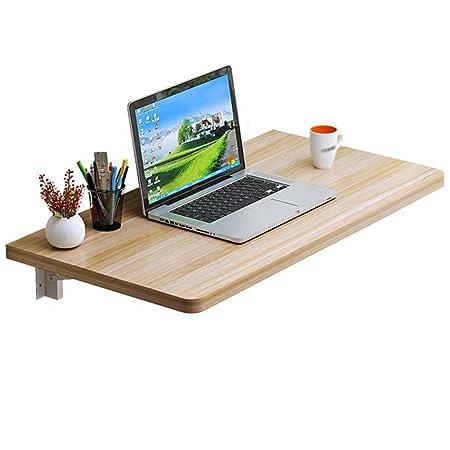 WSSF-Mesas Mesa de comedor plegable de madera maciza Mesa de escritorio montada en la pared de doble computadora de apoyo(color: Nogal ligero, tamaño opcional) ( Tamaño : 120*40cm )