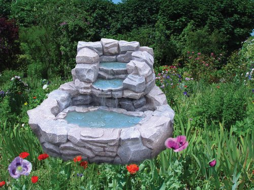 Smart Solar Cobblestone Cascade Waterfall Fountain Solar