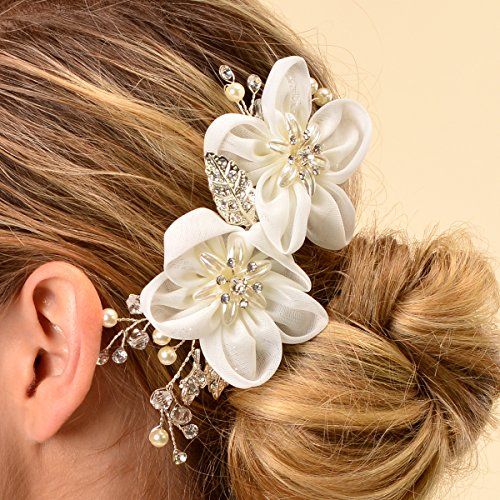 Remedios Ivory Tulle Flower Wedding Hair Comb Wedding Flower Hair Accessory Hair Pins