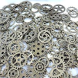 GraceAngie (TM) 40pcs Mix Style Antique Bronze Alloy Round Clock Watch Wheel Gear Pendant Charms 39356