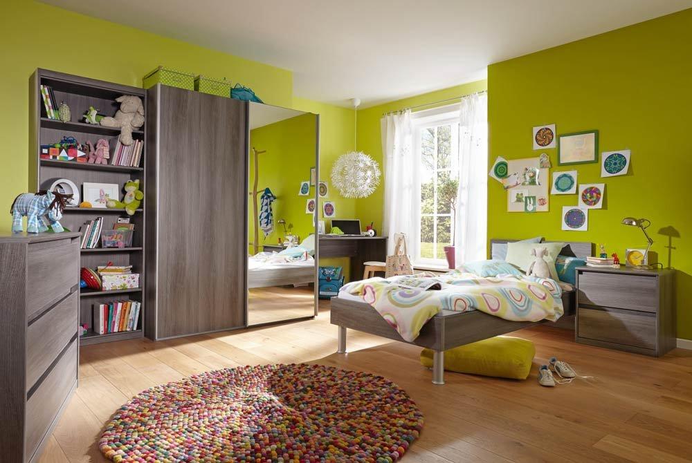 3-tlg. Jugendzimmer in Silbereiche Nachbildung mit Schwebetürenschrank (B: ca. 150 cm), Bett (Liegefläche: 90 x 200 cm) und Nachttisch (B: ca. 55 cm) bestellen