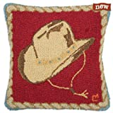 Decorative Hooked Wool Throw Pillow - 18 - Chandler 4 Corners - Cowboy Hat