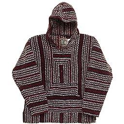 Baja Joe Striped Woven Eco Friendly Hoodie (Red/Brown/Black, Large)