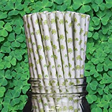 Shamrock Clover Paper Drinking Straw Qty of 100