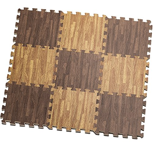 HemingWeigh Printed Wood Grain Interlocking Foam Anti Fatigue Floor Puzzle Mats - Makes a Superior Fitness, workout and exercise mat. Thick, Durable & Safe for all Ages- Set of 9 Tiles (Mix)
