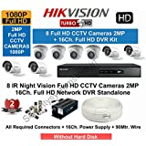 HIKVISION Full HD (2MP) 8 CCTV Cameras & 16 Ch.Full HD DVR Kit (All Accessories)