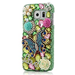 Samsung Galaxy S6 Active Bling Case - Fairy Art Luxury 3D Sparkle Series Butterfly Rose LOVE Flowers Floral Crystal Design Back Cover with Soft Wallet Purse Red Cloth Pouch - Green
