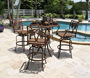 Coco Palm 5 Piece Slatted Pub Table and Swivel Barstools with Arms