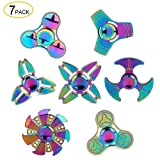 SCIONE Metal Fidget Spinner 7 Pack Stainless Steel Bearing 3-5 Min High Speed Stress Relief Spin ADHD Anxiety Toys for Adult Kid Autism Fidgets Best EDC Hand Toy Focus Fidgeting (Color: A Rainbow-7 Pcs)