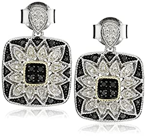 Sterling Silver and 14k Gold Black Diamond Square Art Deco Dangle Earrings (1/10 cttw)