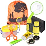 Outdoor Explorer Kit & Bug Catcher Kit with Binoculars, Flashlight, Compass, Magnifying Glass, Butterfly Net and Backpack Great Kids Gift for Boys & Girls Age 3-12 Year Old Camping, Hiking, Pretend (Color: Explorer Kits)