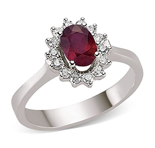 1.51 Carats 18k Solid White Gold Ruby and Diamond Engagement Wedding Bridal Promise Ring Band