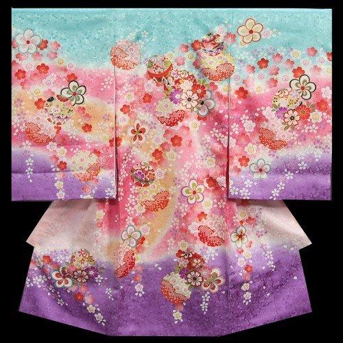 お宮参り着物 女の子 正絹初着 青紫グラデーション 桜柄 桜尽くし 日本製