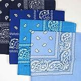 TURQUOISE BLUE cotton bandana scarf SQUARE WHITE PAISLEY