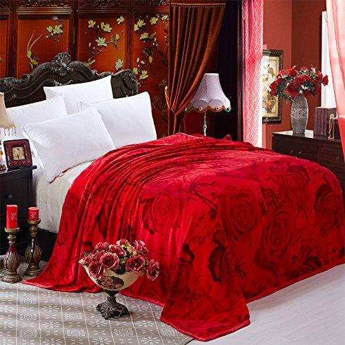 BDUK La coperta a strato singolo coperta di nozze Cloud Lint-Free intagliato inverno coperte matrimoniali matrimonio grandi coperte rosso