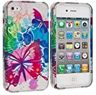 myLife Colorful Butterflies and Splat Flowers Series (2 Piece Snap On) Hardshell Plates Case for the iPhone 4/4S (4G) 4th Generation Touch Phone (Clip Fitted Front and Back Solid Cover Case + Rubberized Tough Armor Skin)