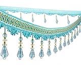 Wildgirl Curtain Fringe Crystal Beading Tassel Macrame 12.5 Yards (Peacock Blue) (Color: Peacock Blue)