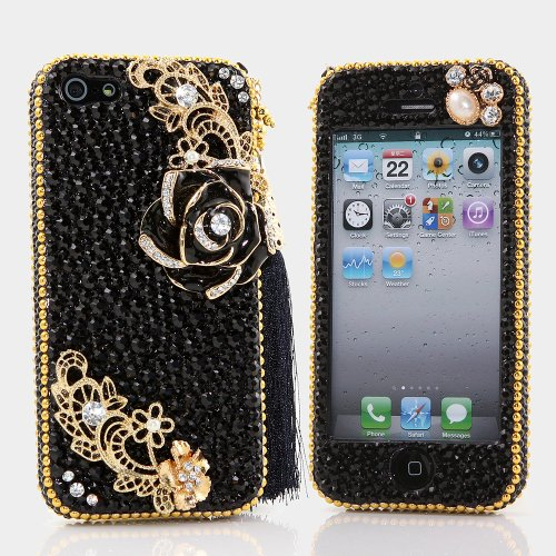 Best Price BlingAngels® 3D Luxury Bling iphone 5 5s Case Cover Faceplate Swarovski Crystals Diamond Sparkle bedazzled jeweled Design Front & Back Snap-on Hard Case + FREE Premium Quality Stylus and Water-Resistant Bag (100% Handcrafted by BlingAngels) (Black and Gold Flower with Tassel Design)