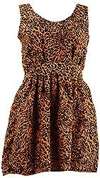SPLURGE Women's Regular Fit Dress (Yellow & Black, M)