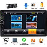 2 Din Car Radio Bluetooth Car MP5 Player Responsive 7 inch Touch Screen Stereo Audio Free Backup Camera Support Steering Wheel Control&EQ Mode AUX Input USB SD Card Input Remote Control (Tamaño: Premium V3)