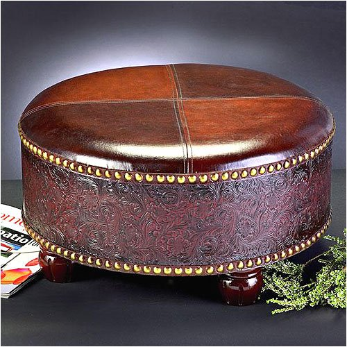 Affordable Ottomans: Cheap & Discount Round Leather Ottoman Online: Howard Elliott 1343 Faux Leather Round Ottoman