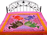 Exotic India Gujarati Bedspread with Applique Elephants, Sequins and All-Over Embroidery - Pure Cott