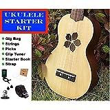 Kalena Soprano natural wood Ukulele Starter Kit with Tuner, Gig Bag, Strings, Picks, Strap