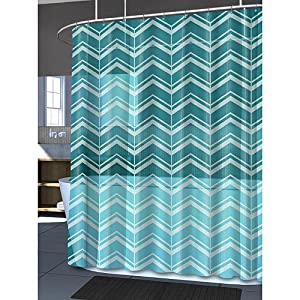 Splash Bath Mill Aqua Baby Blue Chevron PEVA Shower Curtain
