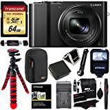 Panasonic DMC-ZS100K LUMIX 4K Digital Camera with 20 Megapixel Sensor, WiFi Black + 64GB Memory Card + Battery, Charger + Flash + Tripod + Lowepro Case + Ritz Gear Cleaning Kit + Accessory Bundle
