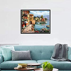 5D DIY Diamond Painting Kits for Adults Full Drill Crystal Rhinestone Embroidery Cross Stitch Arts Craft Canvas Wall Decor Silent Harbor (Color: Silent Harbor, Tamaño: One Size)