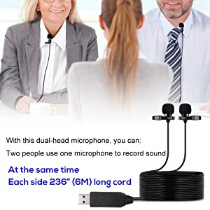 USB Microphone 236 (6m) Dual Head Lavalier Lapel Mic Professional Clip-on Shirt Omnidirectional Condenser Microphones for Computer PC,Laptop,Recording Youtube,Interview,Video Conference,Podcast (Color: Dual Head Usb Microphone)