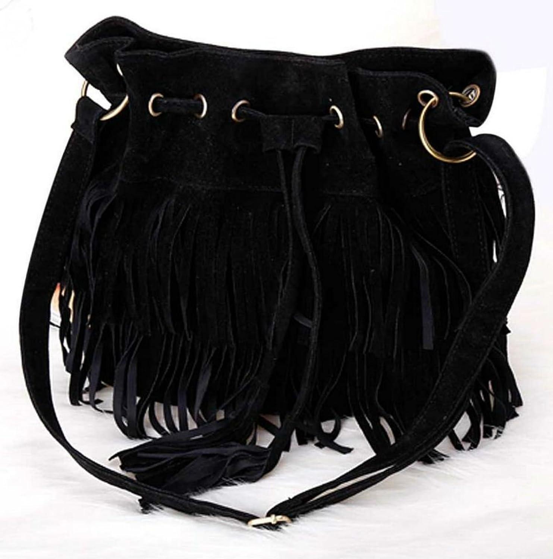 Amazon.co.jp: Micopuella フリンジバッグ スエード 巾着 大きめ ショルダーバッグ 斜めがけ ボヘミアン バッグ レディース かばん 鞄 全3色 (ブラック): シューズ&バッグ:通販