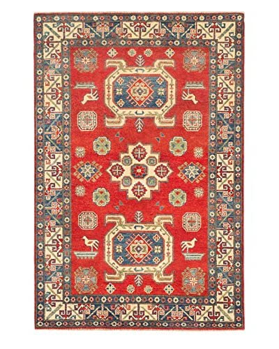eCarpet Gallery One-of-a-Kind Hand-Knotted Gazni Rug, Red, 4' 2 x 6' 2