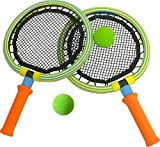Bing Bang Springy Racket With Ball -BSK-05 (B), Rubber Foam Toys Badminton Racket Set for Kids, 2 Rackets and 2 Balls in carry bag (Color: Colorful, We delivery Randomly)