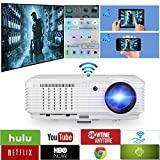 WiFi Projector Wireless, 3600 Lumen 1080p Full HD 3D Support, LCD LED Home Theater Projector Android for phone iPhone Laptop Blu-ray DVD Player PS3 PS4 XBox TV Box with HDMI USB VGA AV Speaker Remote