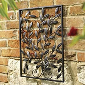 Berry Decorative Metal Garden Wall Art Trellis Black Gar