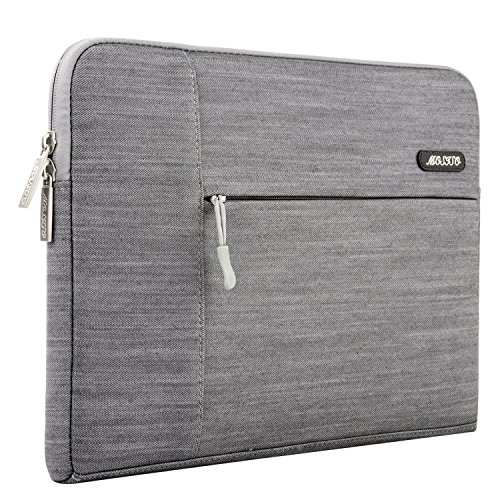Mosiso - Tessuto Denim Borsa Custodia Morbide Sleeve Case per Apple 12,9 iPad Pro e Laptop / Notebook / Computer Portatile / MacBook Pro / MacBook Air da 13-13.3 Pollici, Grigio