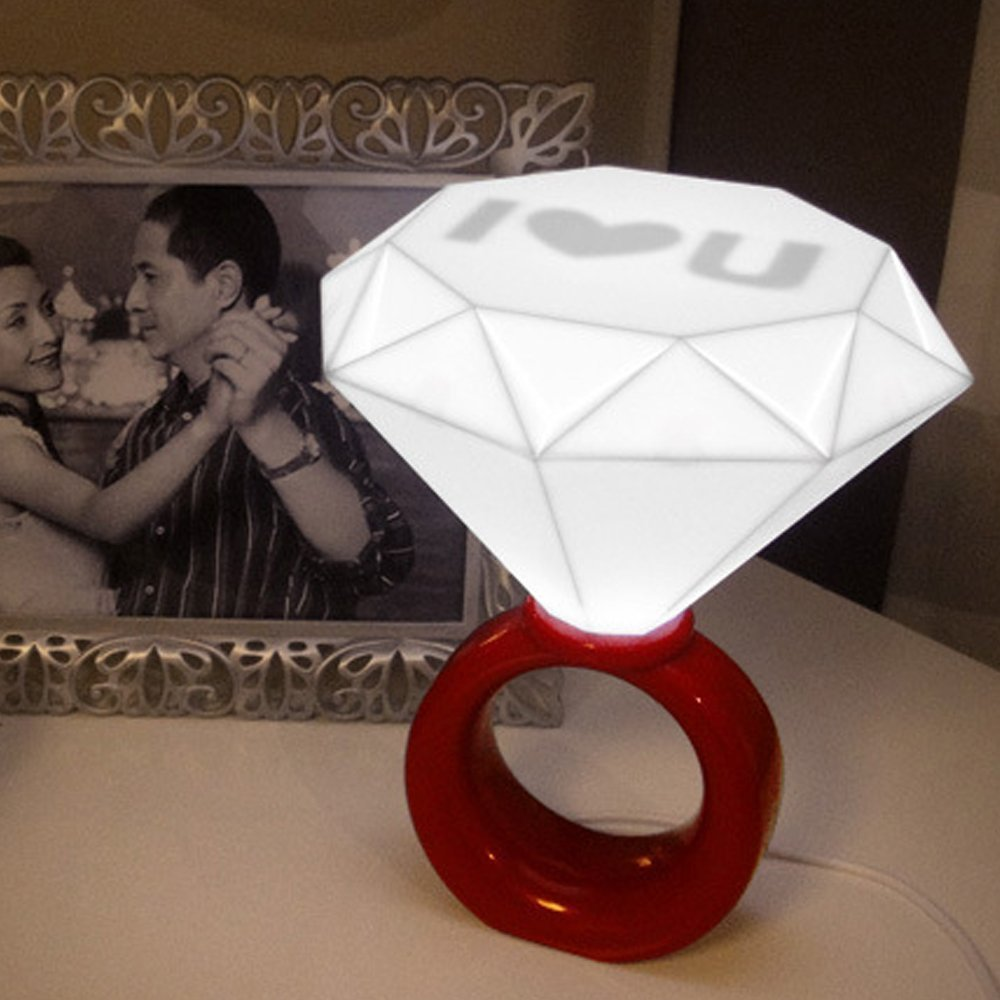Red - Romantic Diamond Ring Shaped Desk Table Floor LED Lamp