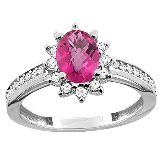 Revoni 14ct White/Yellow Gold Natural Pink Topaz Floral Halo Ring Oval 7x5mm Diamond Accent