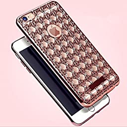 Case for iPhoneSE/5/5s-Auroralove Rose Gold Super Soft Shiny Bling Crystal TPU Rhinestone iPhone 5/5s Cover for Girls