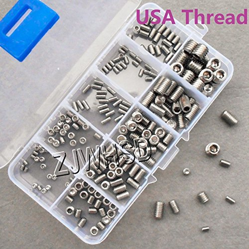 200pcs Stainless USA Thread UNC UNF Allen Hex Socket Set Grub Screw Cup Point [Gold Sister]