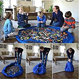 Makarine Tidy Storage Bag - Nursery Storage and Organization Made Easy! - Large 150 CM diameter floor mat folds up quickly & easily into a shoulder bag - Perfect for Lego products & other favorite toys at home (Blue)