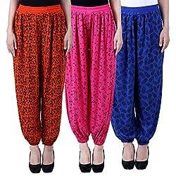 NumBrave Printed Viscose Orange & Pink & Blue Harem Pants (Pack of 3)