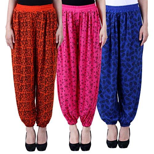 NumBrave-Printed-Viscose-Orange-Pink-Blue-Harem-Pants-Pack-of-3